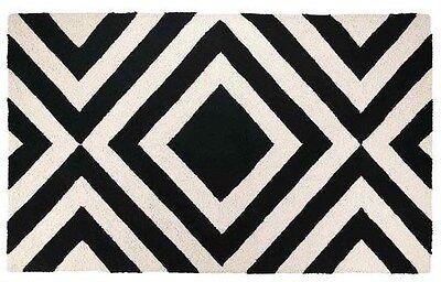 TRINA TURK GEOMETRIC HOOK RUG 3'X5' BLACK & WHITE 100% WOOL/COTTON