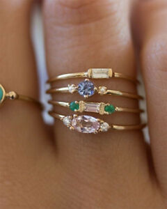 4pcs-WOMEN-18K-GOLD-RINGS-SET-CRYSTAL-DIAMOND-KNUCKLE-FASHION-BAND-MIDI-GIFT-NEW