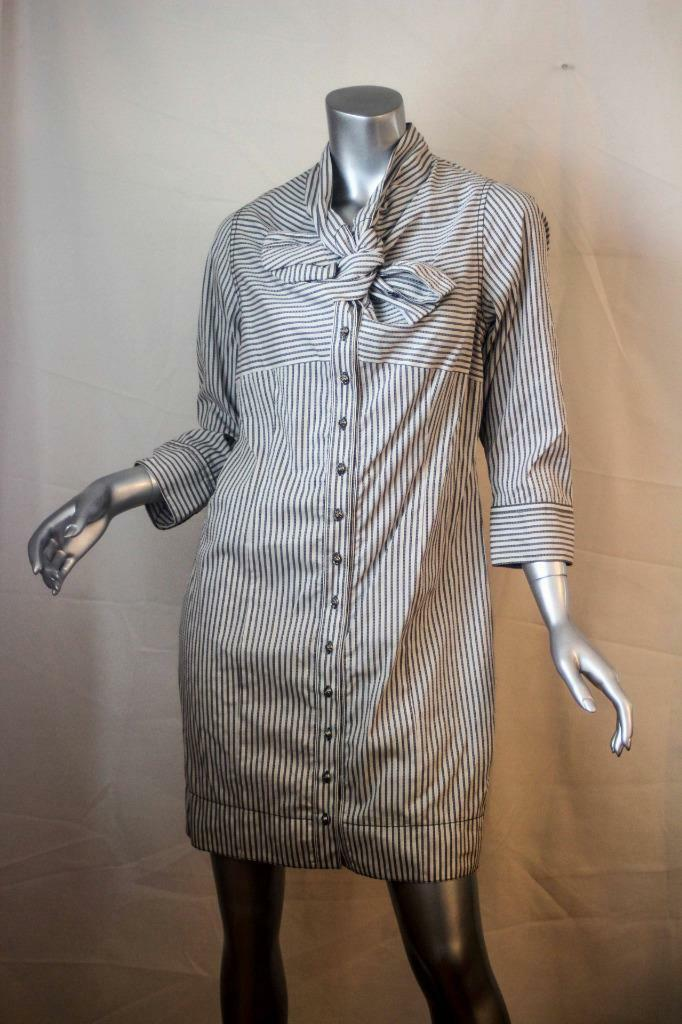 Womans BYRON LARS Beauty Mark Pin Stripe Twist Rosa Button Shirt Dress 10 NWT