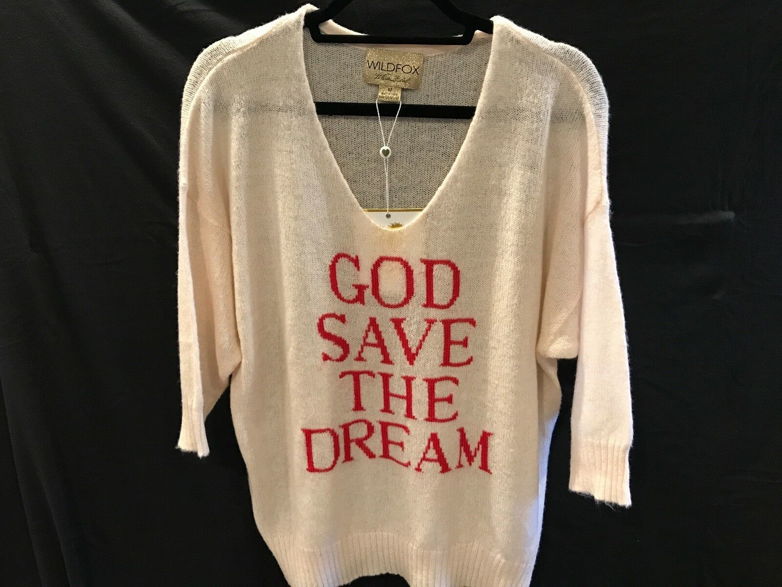 Brand New WILDFOX Weiß Label Woherren 3 4 Sweater  God Save The Dream  Sz Medium