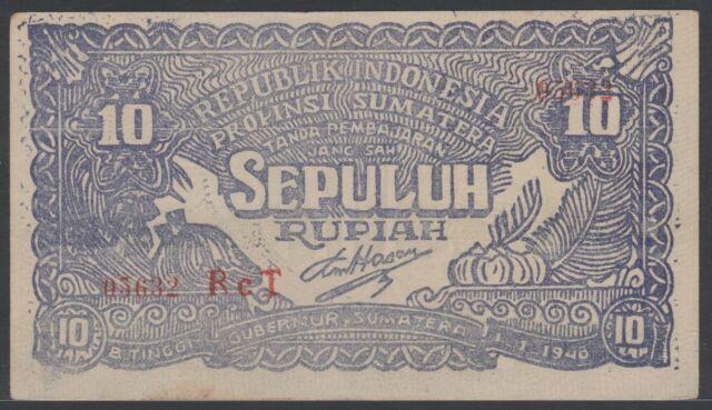 Indonesia 10 Rupiah 1948 Bukittinggi, EF-, Pick S190c / H-521