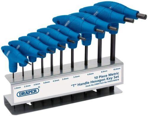 Draper T-Poignée de clés Allen Métrique Set Hexagone 10 Clés Hex Drive 33869 mécanicien