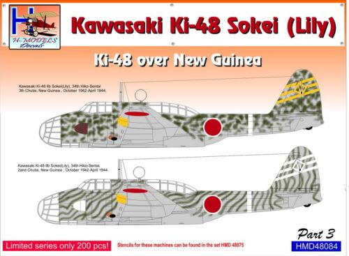 Lily Ki-48 über Neu Guinea Teil 3 #4 h-model Decals 1//48 Kawasaki Ki-48 sokei
