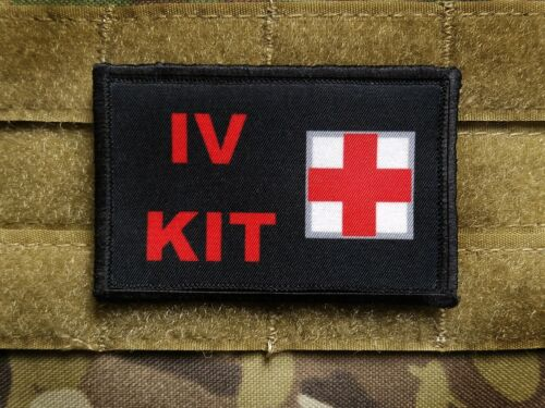 IV KIT  Black 2x3 Tactical Hook Military Morale Patch DIY IFAK Kit FIRST AID