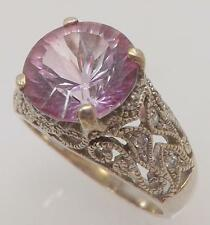 925 STERLING SILVER ROUND FANTASY CUT PINK CUBIC ZIRCONIA RING SIZE 10.75 RT7
