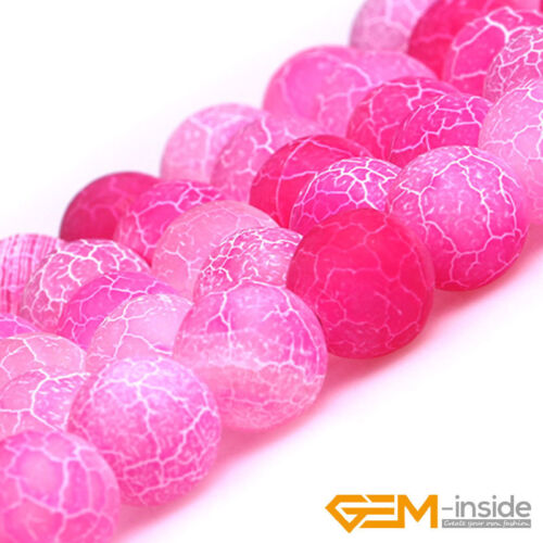Plum Dream Fire Dragon Veins Agate Round Loose Spacer Beads For Jewelry Making
