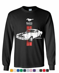 Kids Ford Mustang T-shirt Shelby Blue and Red Logo Youth Long Sleeve