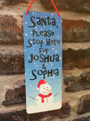 Santa Please Stop Here for Personalised Christmas Xmas Door METAL Sign Plaque
