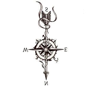Kompass-Einmal-Tattoos-Temporaere-Tattoo-Body-Sticker-Seemann-Farbe-21x11cm