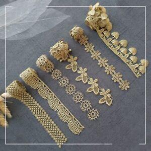 Retro-Gold-Embroidered-Lace-Edge-Trim-Ribbon-Costume-Fringe-Adorn-Victorian-1Y