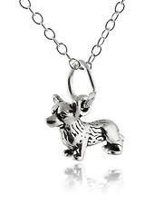 Welsh Corgi Dog Necklace - 925 Sterling Silver - 3D Charm Pet Dogs Pembroke NEW