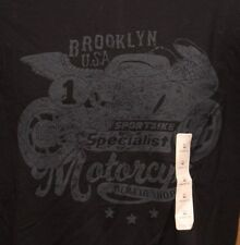 BROOKLYN MOTORCYCLE SHOP DISTRESSED LOGO ADULT MEDIUM GRAPHIC TEE T SHIRT
