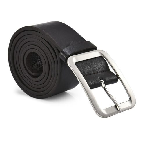 Men's Casual Jeans Genuine Black Leather Pin Buckle Belt  Big /& Tall Sizes S-6XL