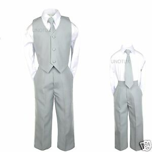 ca4dc2aac2e1 Baby Boys Toddler Teen Kids Wedding Formal Party Vest Set Silver ...