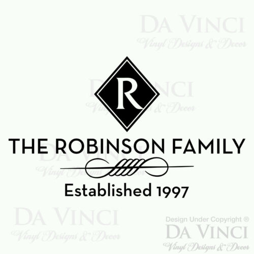 Personalized Custom Family Name /& Est Date Vinyl Wall Quote Decal Sticker Home