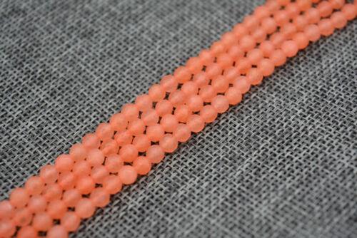 "Natural 4MM Brazilian orange Ruby Faceted Round Loose Beads Gemstone 15/"" JL0746"
