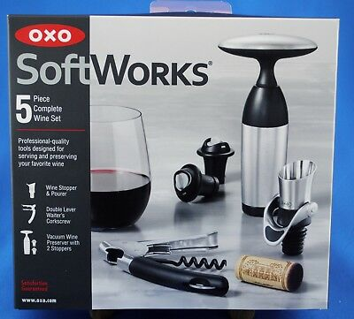 Pourer OXO SoftWorks Complete 5 Piece Wine Set w// Corkscrew Vacuum /& Stoppers