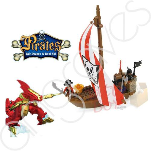 Pirates Red Dragon /& Boat 64pc Captain Jack Caribbean Ship Building Bricks Set