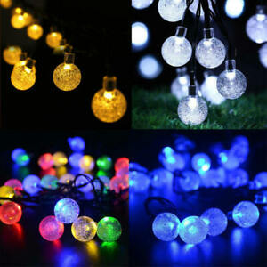 Image Is Loading 30 Led Solar Waterproof Fairy String Lights Crystal