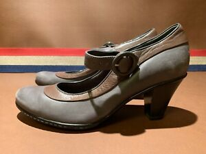 CLARKS-Bendables-Leather-Wedge-Ankle-Strap-Heel-Gray-Brown-Excellent-Nearly-New