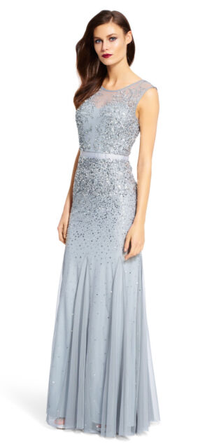 Adrianna Papell Long Beaded Gown With Illusion Neck BLUEMIST - Final ...