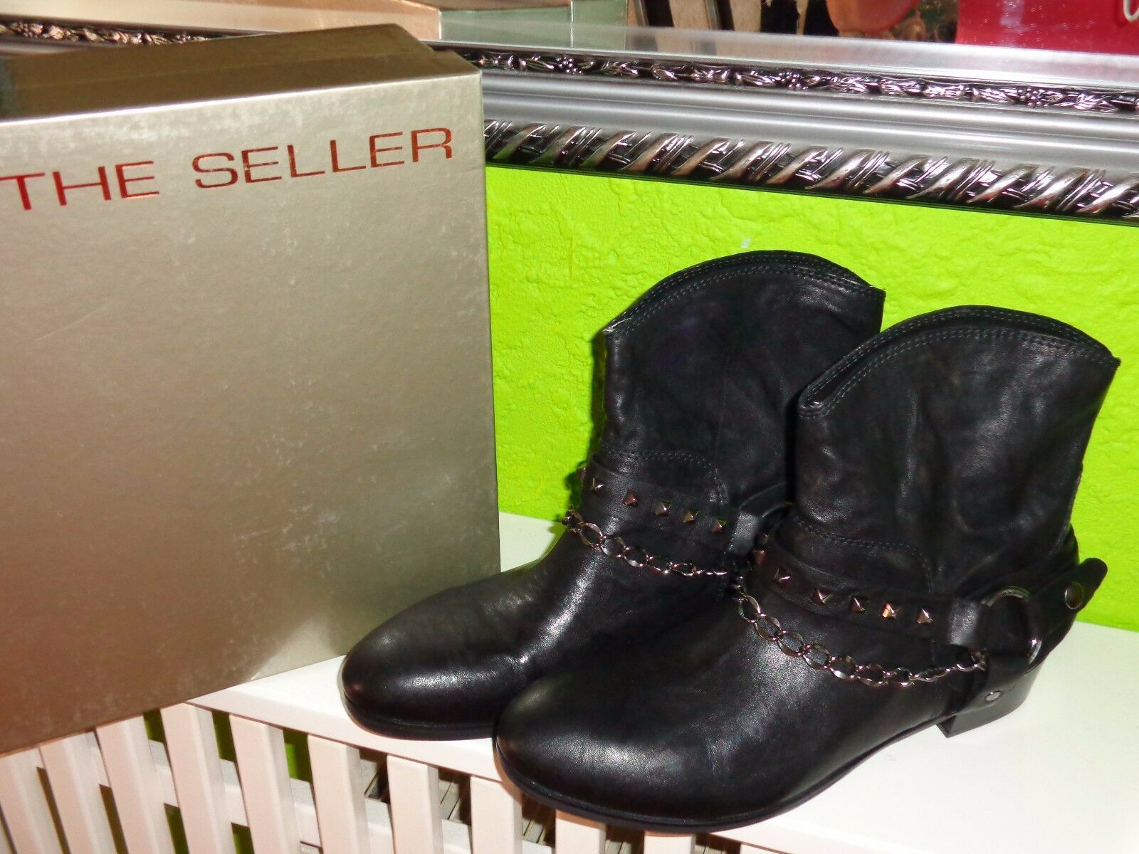 The Seller Stiefeletten Stiefel Leder Neu Schwarz  Gr. 39,5 Neu Leder 366e3e