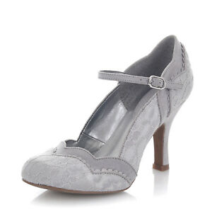 04dd01445578 Ruby Shoo NEW Imogen silver grey floral lace high heel mary jane ...