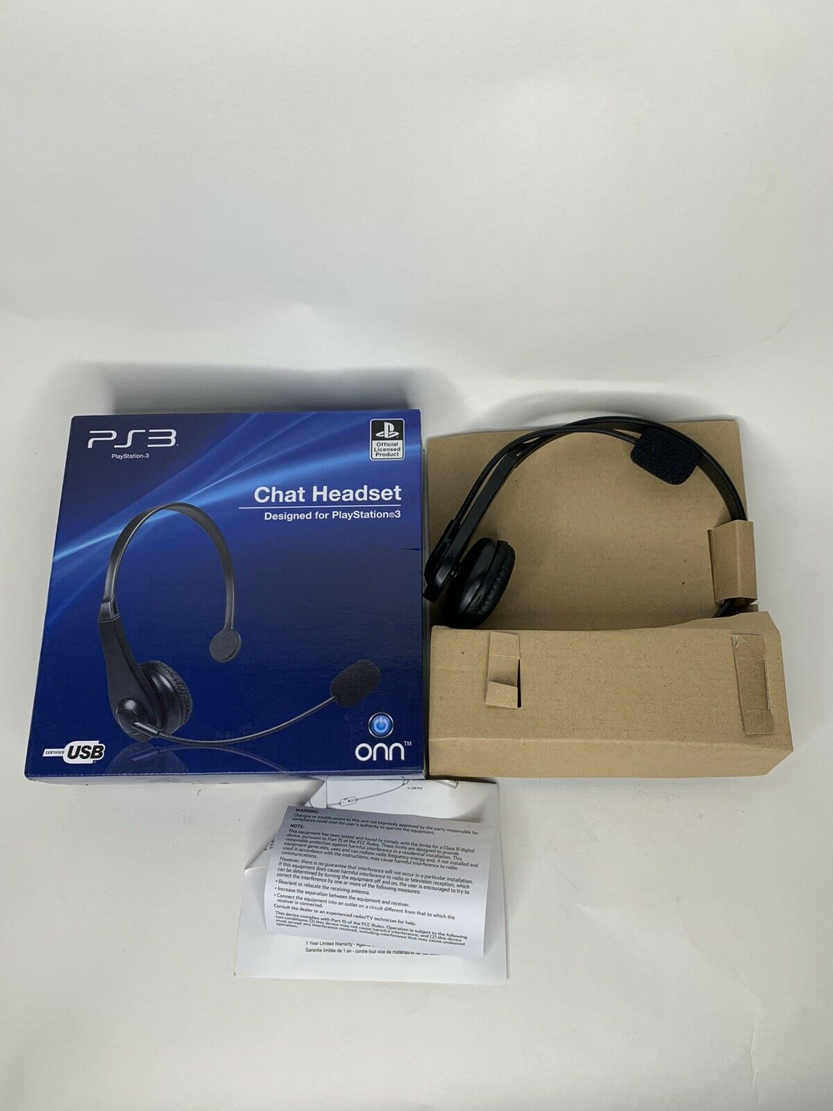 Onn Official PlayStation Chat Headset PS3 PS4 Gaming Headphones USB Windows PC™