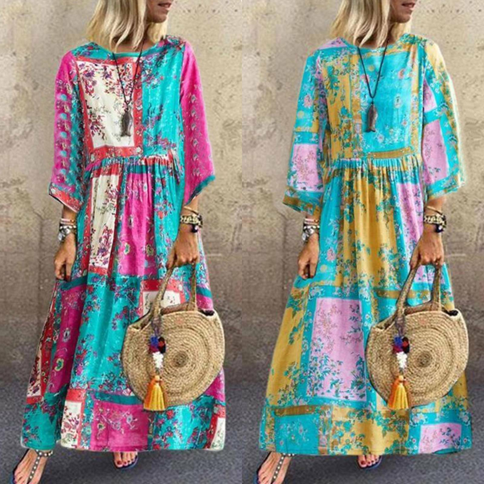 Womens Retro Cotton Linen Floral Maxi Dress Ladies Long Sleeve Loose Baggy Beach