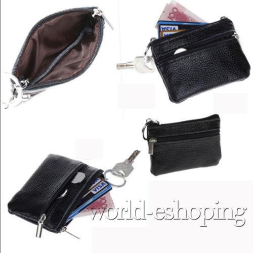 Damen Faux Leder Münztüte Schlüsselring Mini Geldbörse Clutch Beutel Vintage DE