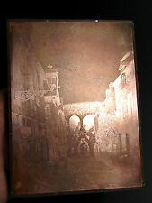 Plaque gravure cuivre XIX° old copper engraving plate Vue de village