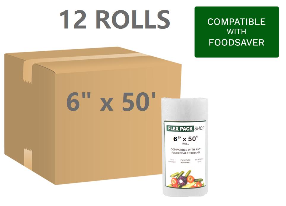 12 Rolls of 6  x 50' Foodsaver style Vacuum Sealer Bags, BUY IN BULK & SAVE