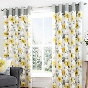 Fusion-ADRIANA-Ochre-Yellow-Flower-100-Cotton-Eyelet-Curtains-amp-Cushions