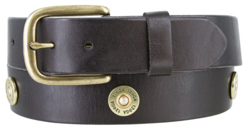 "Men/'s Belt 12 Gauge Shotgun Shell Conchos Genuine Full Leather Belt 1-1//2/"" Wide"