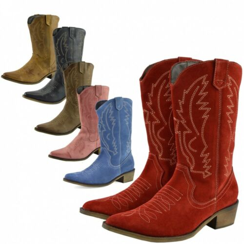 Cowboy All Western Suede Calf Wide Boots Sizes Colours Ladies Leather Genuine ACUUx
