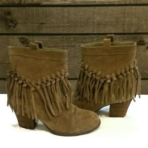 5ad727ce5 Sbicca Womens Sound Ankle Boot Fringe Khaki Suede Size 8.5 B Brand ...