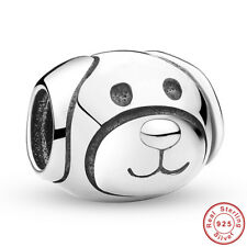 Wostu Authentic S925 Sterling Silver Pretty Devoted Dog Charm for Bracelet Chain