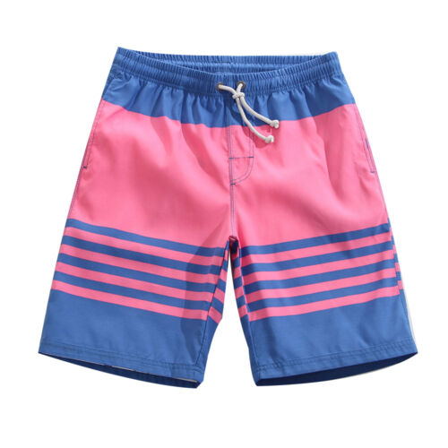 Mens Surf Board Shorts Quick Dry Swimming Trunks Beach Shorts pink blue strip