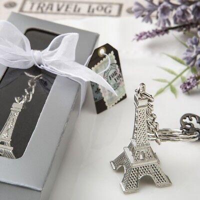 75 Silver Eiffel Tower Paris Keychain Wedding Bridal Baby Shower Party Favors