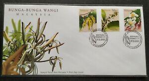 2001-Malaysia-Scented-Flowers-Bunga-Wangi-Stamps-FDC-Kuala-Lumpur-Cachet-Lot-C