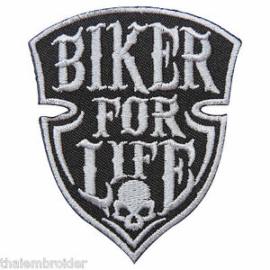 Biker For Life Skull Rider Motorcycle Ride Live Free Tattoo Iron On