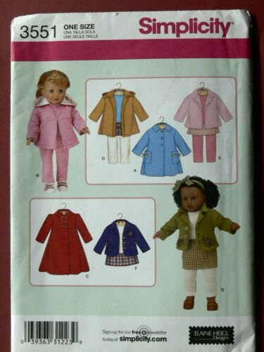 """Simplicity Pattern 3551 Outfits for 18/"""" Dolls fits 18 Inch dolls wardrobe"""