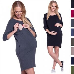 607e1462b7f4f Happy Mama. Women's Maternity Nursing Sweatshirt Dress 3/4 Sleeves ...