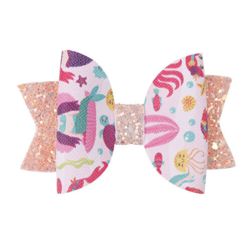 """2PC 3/"""" Unicorn Printed Sequin Hair Bows Kids Hair Clips Double Layers Bling Bows"""