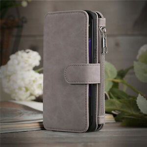 Genuine Leather Wallet Zipper Flip Card Case Cover For Samsung Galaxy S7 Edge