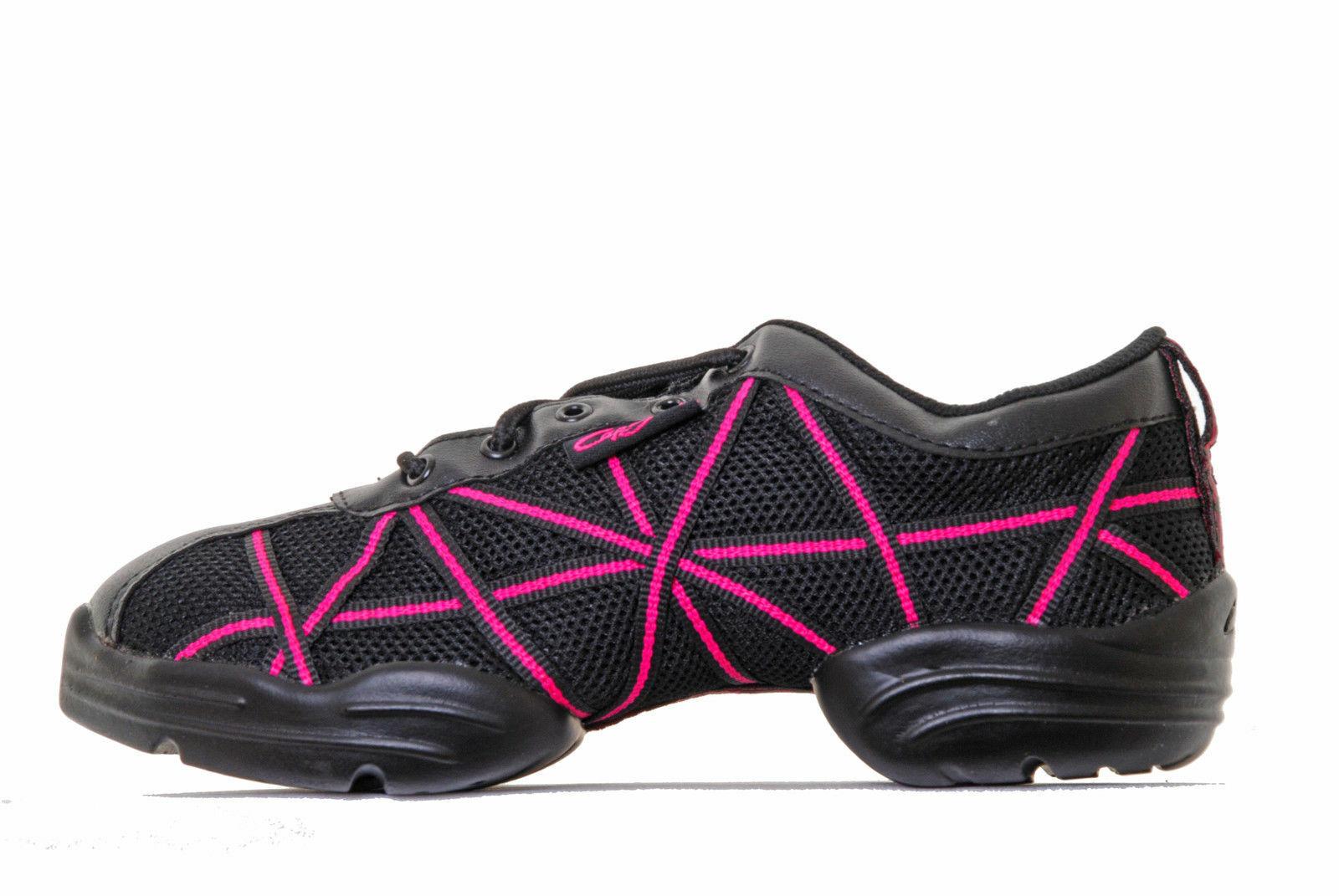 Capezio DS19C HPK Web Dansneaker / Trainer Dance Shoe Black Pink 1.5 M / UK 1