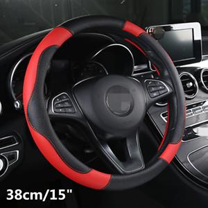 Comfortable Black/&Red PU Leather Car Steering Wheel Cover Anti-slip 15/'/'//38cm