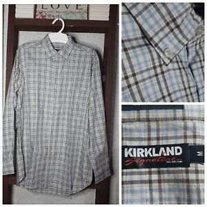 MA2013-Kirkland-Blue-amp-Gray-Plaid-Long-Sleeves-Polo-In-Good-Condition