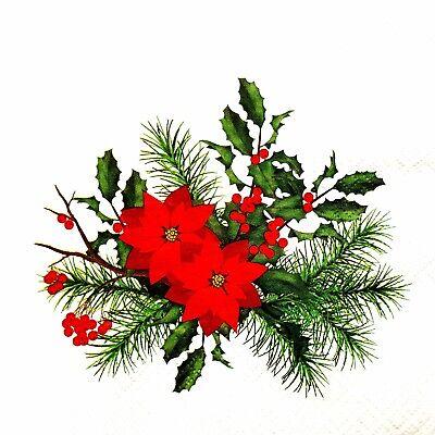 DINING, 4 x SINGLE RED CHRISTMAS TREE CHRISTMAS 3 PLY PAPER NAPKINS DECOUPAGE,CRAFTING