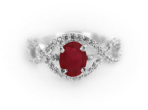 925-Sterling-Silver-Ring-Red-Ruby-Natural-Criss-Cross-Shank-Size-4-11